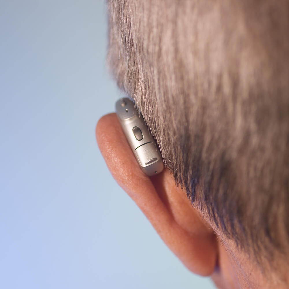 man wearing a hearing aid